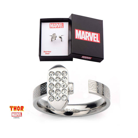 Marvel Half Open Thor Hammer with CZ Ring