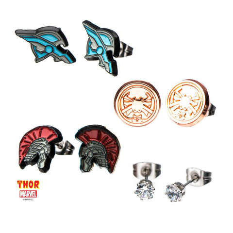 Marvel Thor and Hulk Stud Earrings Set (4pcs)