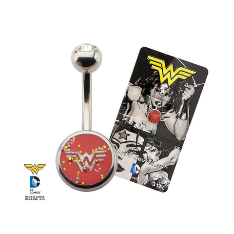 DC Comics Sprinkled Wonder Woman Logo Fixed Navel