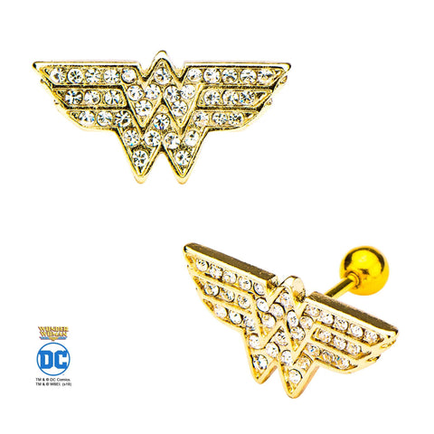 DC Comics Wonder Woman with Clear CZ Cartilage Earrings