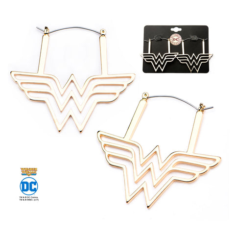 DC Comics Cut Out Wonder Woman Logo Hoop Earrings