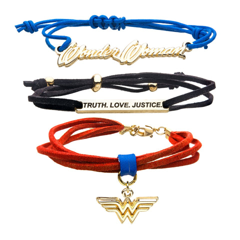 DC Comics Wonder Woman Blue, Black and Red Cord Bracelet Set