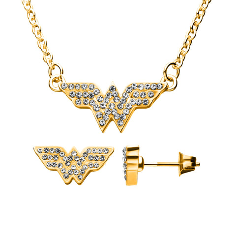 DC Comics Wonder Woman Stud Earrings & Pendant Necklace Gem Set