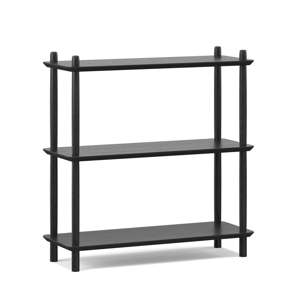 Breeze Shelving Malia Low Bookshelf, Black