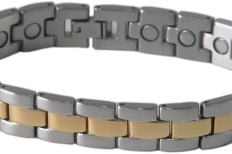SBP0913 Mens Stainless Steel Silver & Gold Magnetic Bracelet - Olympia Beauty Online Store