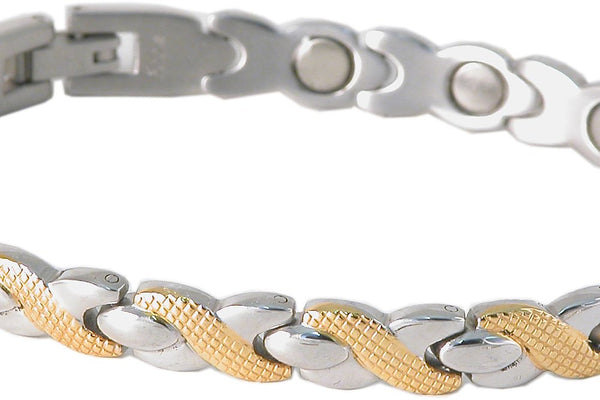 SBP1123 Ladies Stainless Steel & Gold Leaf Mangetic Bracelet - Olympia Beauty Online Store