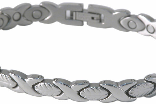 SBP1093 Ladies Stainless Steel Leaf Silver Mangetic Bracelet - Olympia Beauty Online Store