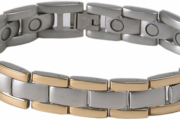 SBP1953 Stainless Steel Slver & Gold Magnetic Bracelet - Olympia Beauty Online Store