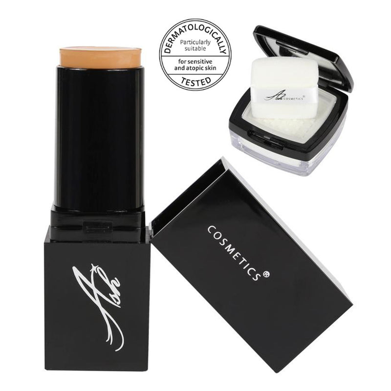 Seamless HD Foundation Stick Shade, Plus Pixel Perfect Setting Powder Set - Ash - Olympia Beauty Online Store