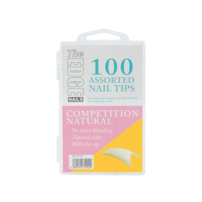 The Edge Natural Competition Nail Tips - Box of 100 Assorted Tips