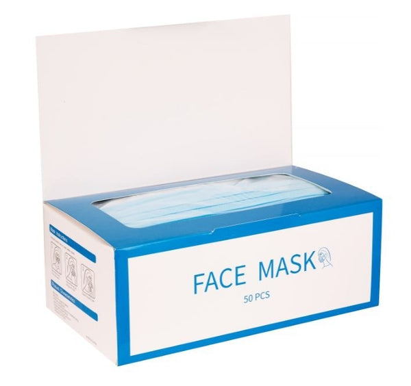 3-Ply Protective Disposable Face Masks - Box of 50
