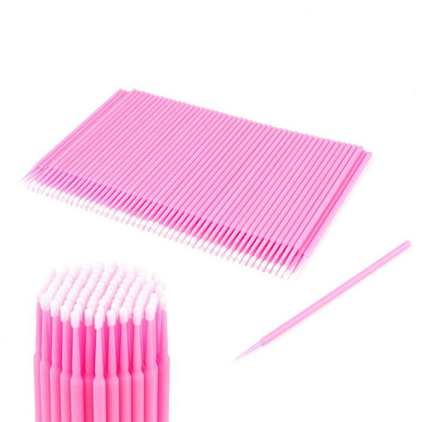 100pcs Baby Pink Disposable Eyelash Extension Micro Brush Applicator - Olympia Beauty Online Store