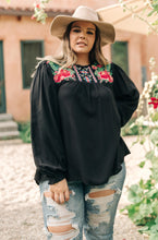 Prickly Business Embroidered Top In Black