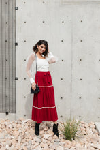 Tiered & Tied Skirt In Wine