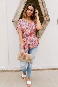 Abstract Floral Wrap Blouse