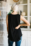 Bamboo Babydoll V-Neck Tank In Black