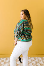 Bishop Sleeve Boho Crop Top In Green & Gray
