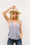 Charlize Surplice Tank In Faded Blue