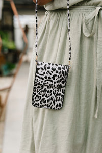 Crossbody Spotted Cellphone Pouch in White