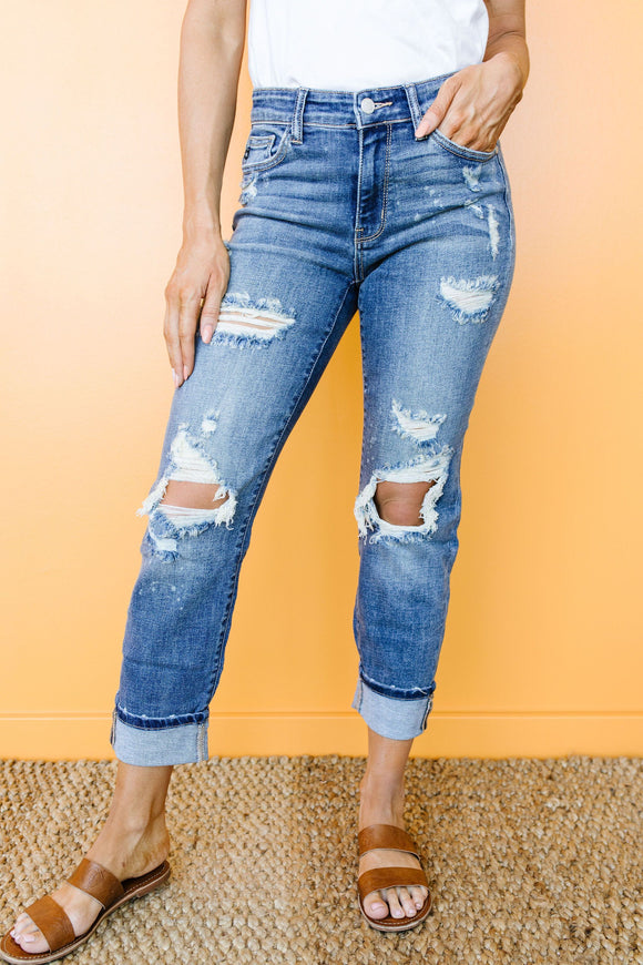Just My Type Destroyed Boyfriend Jeans