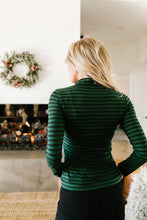 Layer Away Striped Turtleneck In Hunter Green