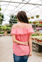 Penelope Pom Pom Off Shoulder Top In Watermelon