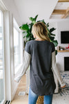 Pure & Simple Raglan Tee In Charcoal