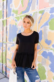 Ruffled Peplum Top In Black