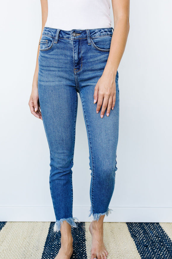 Shark Bite Frayed Hem Jeans