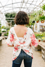 Twisted Back Coral Floral Top