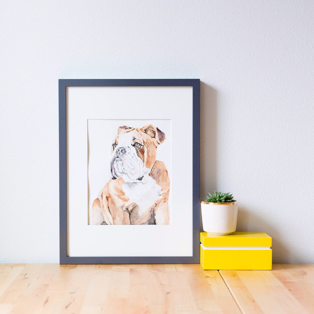 Watercolor custom pet portrait, Custom Pet Watercolor, Portrait from Photo, Custom Pet Portrait, English Bulldog Portrait