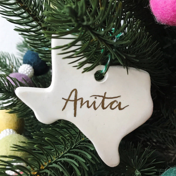 Personalized Texas Christmas Tree Ornaments