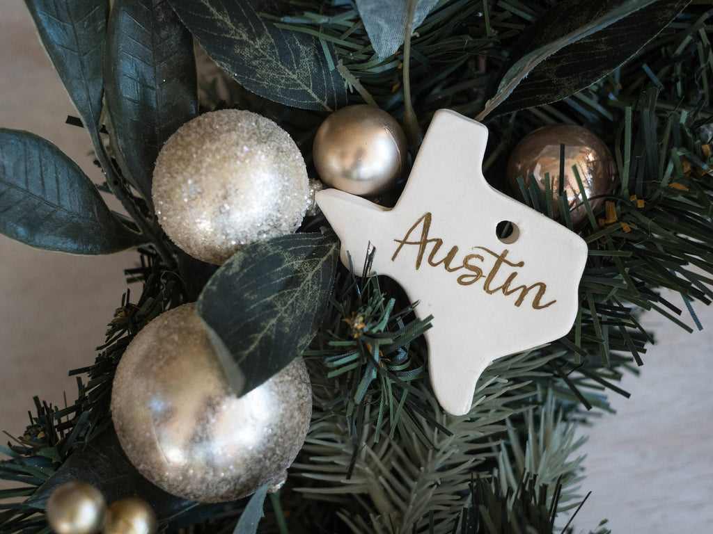 Texas Ornament, Houston Ornament, Ceramic Texas Ornament, Personalized Texas Ornament, Personalized Christmas Tree Ornaments