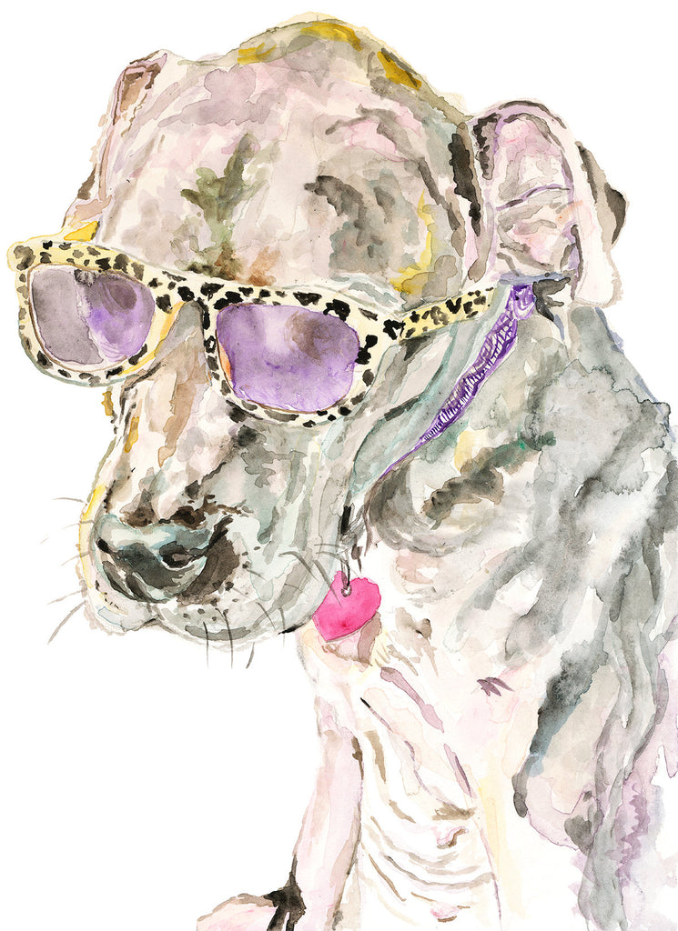 Junie Dog Print, Rescue Dog Print, Dog Wall Art,  Watercolor Rescue Dog Art, Dog Lover Gift, Giclée Dog Art Print