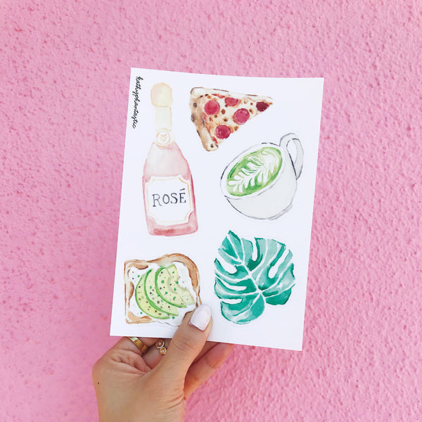 Rosé stickers, Monstera Sticker, Avocado Toast Sticker, Monstera Leaf Sticker, Pizza Slice Stickers, Rosé all day Sticker Watercolor Sticker
