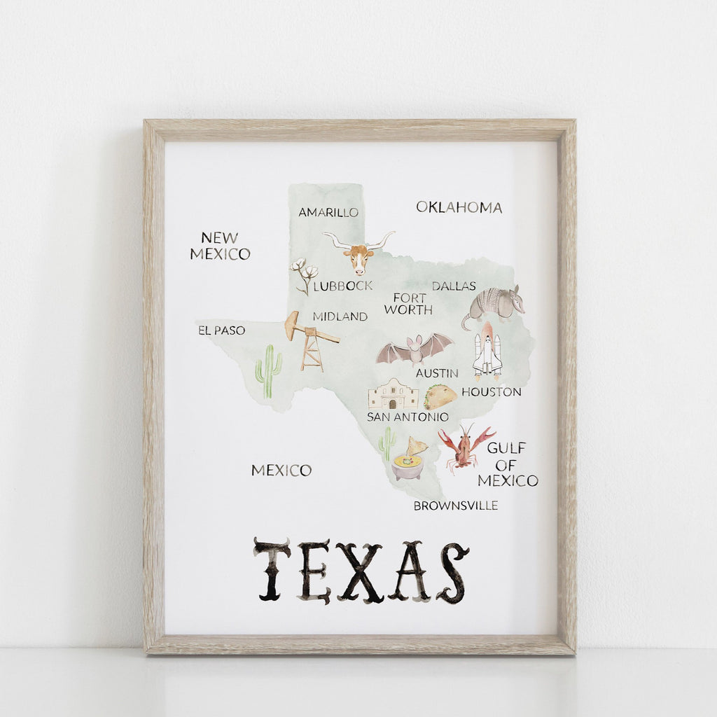Texas Print, Texas Blue Watercolor Map, Texas Wall Art, Texas Art Print, Texas Nursery Decor, Texas Dorm Decor