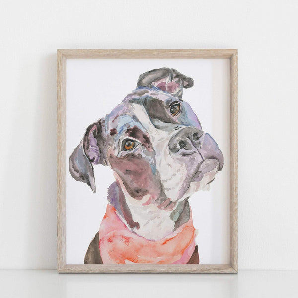 Pitbull Watercolor Print, Pit Bull Watercolor Print,  Pit Bull Giclée Dog Print, Pit Bull Wall Art, Pit Bull Gift, Dog Lover Gift
