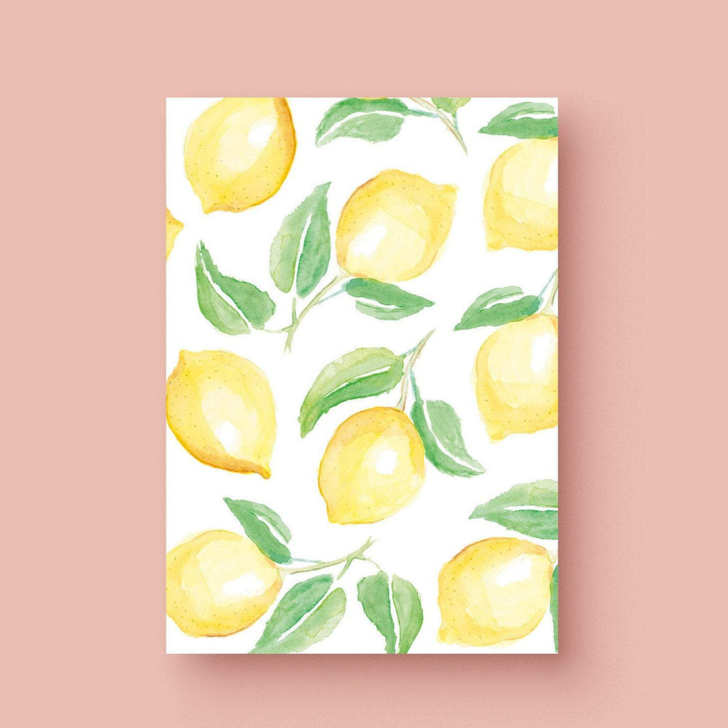 Lemon Pattern Card, Watercolor Lemon Card, Lemon Watercolor Stationery, Lemon Greeting Card