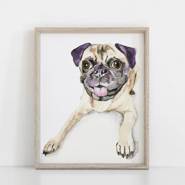 Pug Watercolor Print