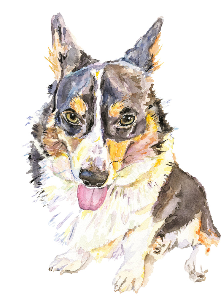 Cardigan Corgi Watercolor Print, Corgi Giclée Dog Print, Corgi Wall Art, Corgi Illustration, Corgi Art Print, Cardigan Corgi Gift