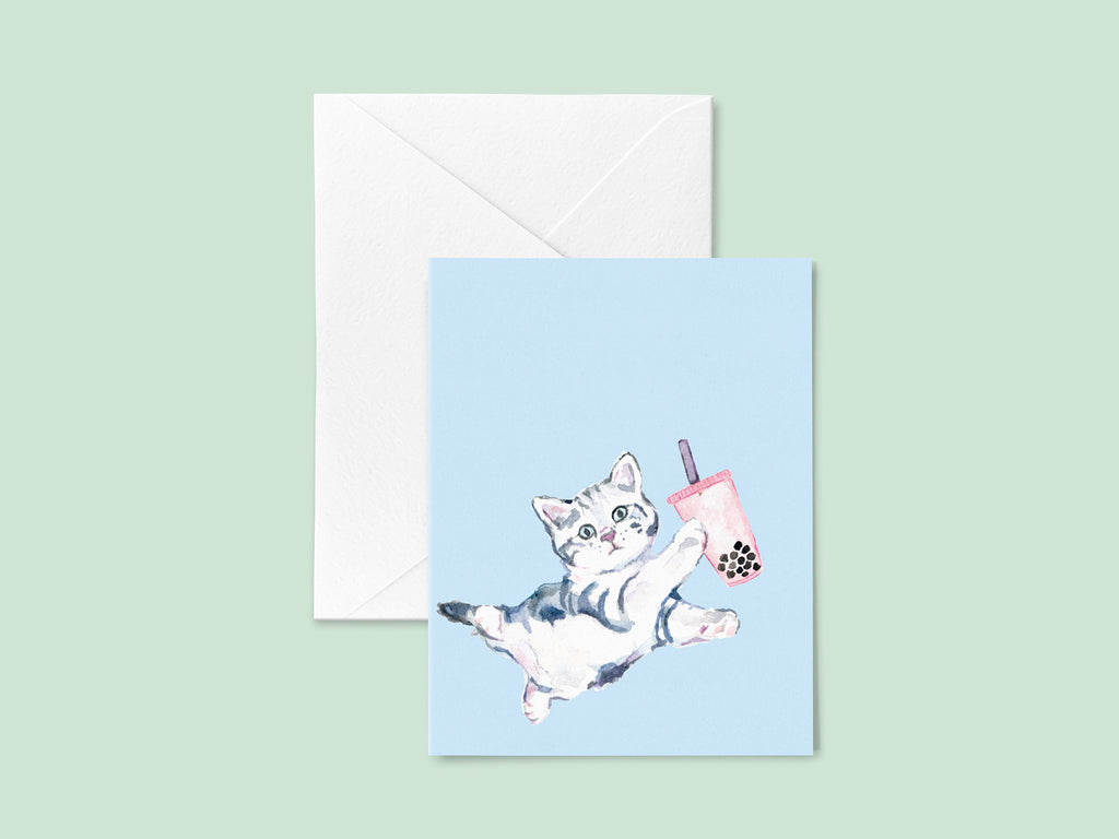 Bubble Tea Card, Boba Tea Card, Boba Milk Tea Greeting Card, Cat Boba Tea, Boba Tea Cat Stationery, Blue Cat Card