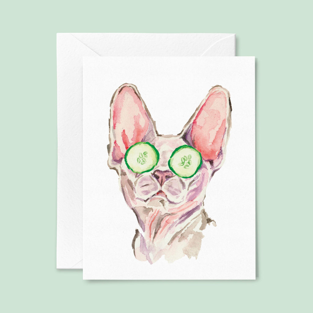 Sphynx Cat Art Card, Sphynx Greeting Card, Spa Day Card, Hairless Cat Card, Funny Cat Card, Watercolor Sphinx Cat Card, Blank Cat Card