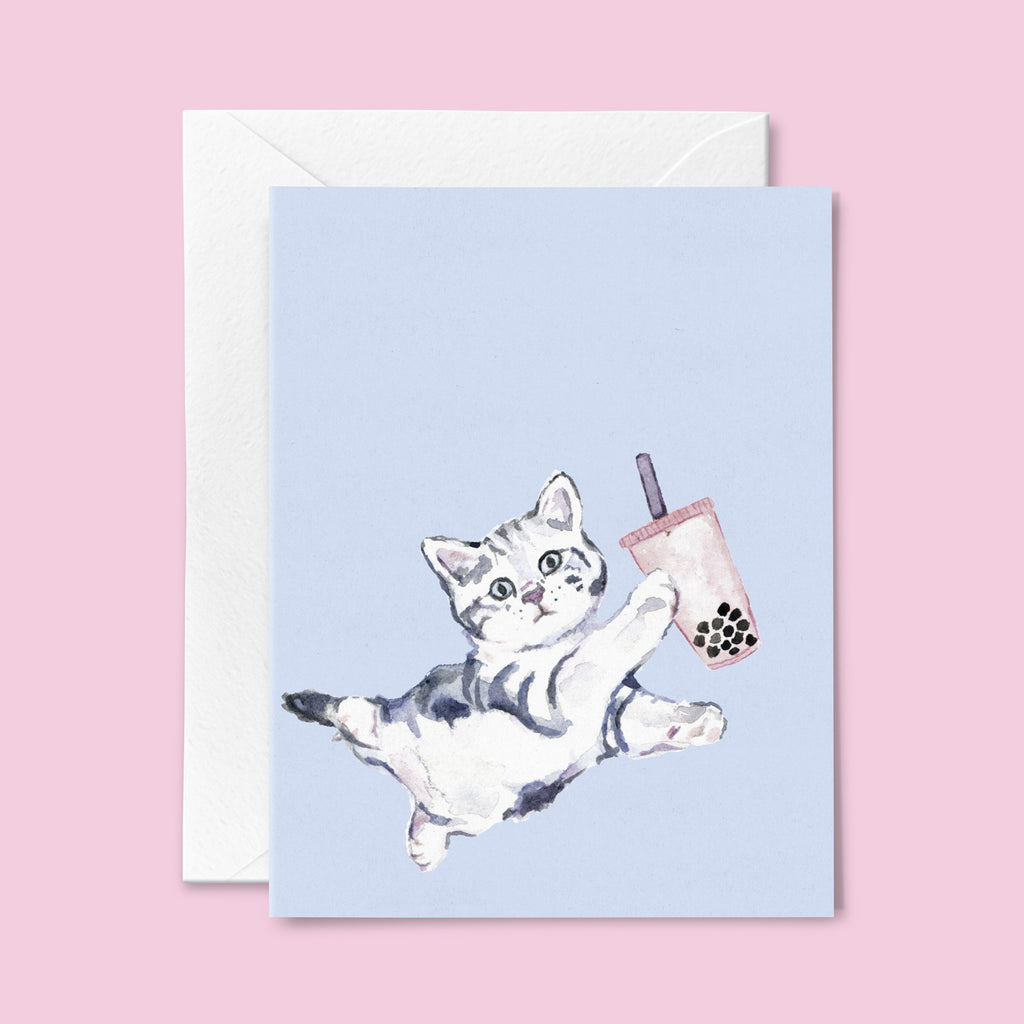 Bubble Tea Cat Card Blue