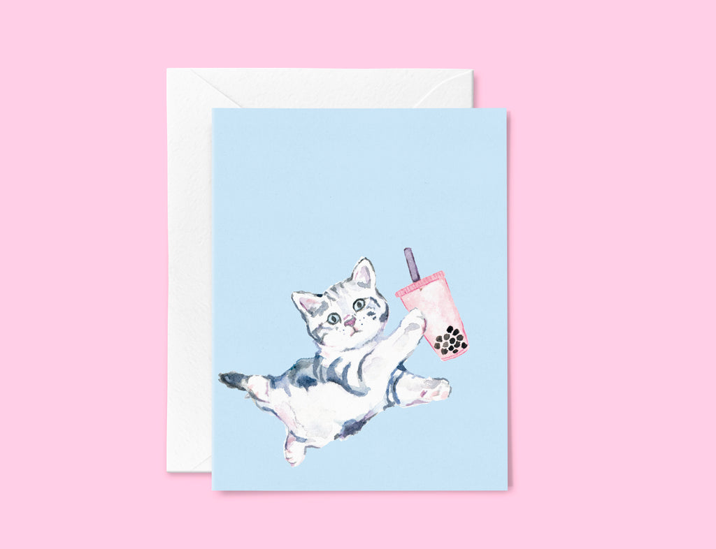 Bubble Tea Greeting Card Set, Boba Tea Note Card Set, Boba Milk Tea Greeting Card, Cat Boba Tea, Boba Tea Cat Stationery Set,