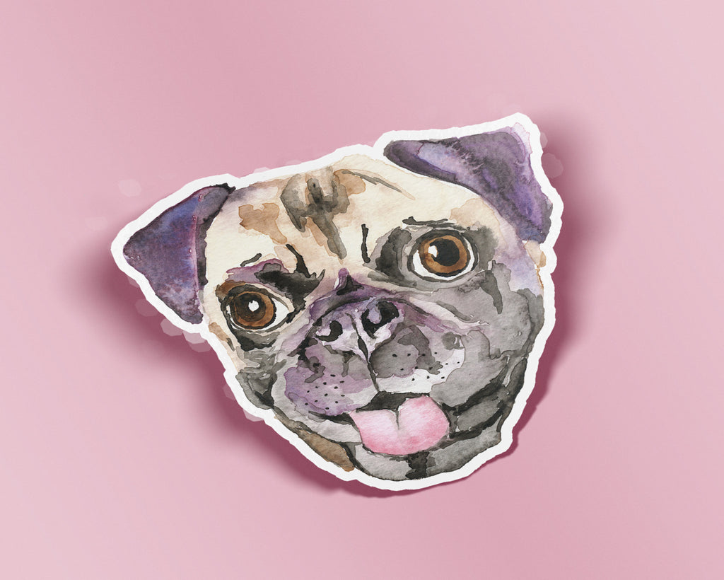 Pug Die Cut Vinyl Sticker, Pug Face Sticker, Watercolor Pug Sticker, Pug Vinyl Stickers, Pug Dog Stickers, Pug Decal, Pug Lover Gift