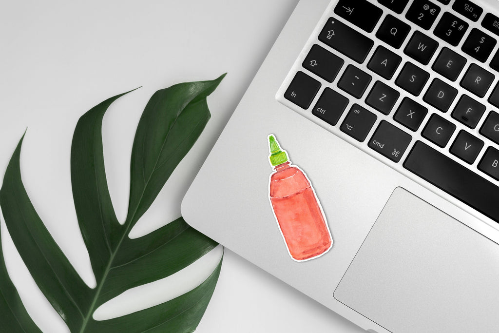 Sriracha Vinyl Sticker, Hot Sauce Sticker, Sriracha Decal, Siracha Sticker, Spicy Vietnamese Pho, Hot Sauce, Small Gift, Laptop Decal