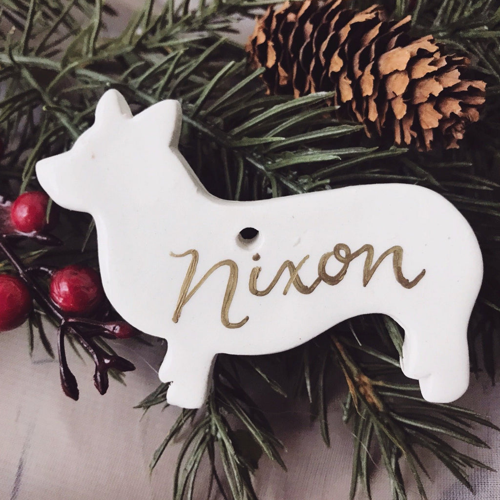Pembroke Corgi Ornament, Ceramic Corgi Ornament, Personalized Corgi Ornament, Personalized Corgi Dog Ornaments, Calligraphy Dog Ornament
