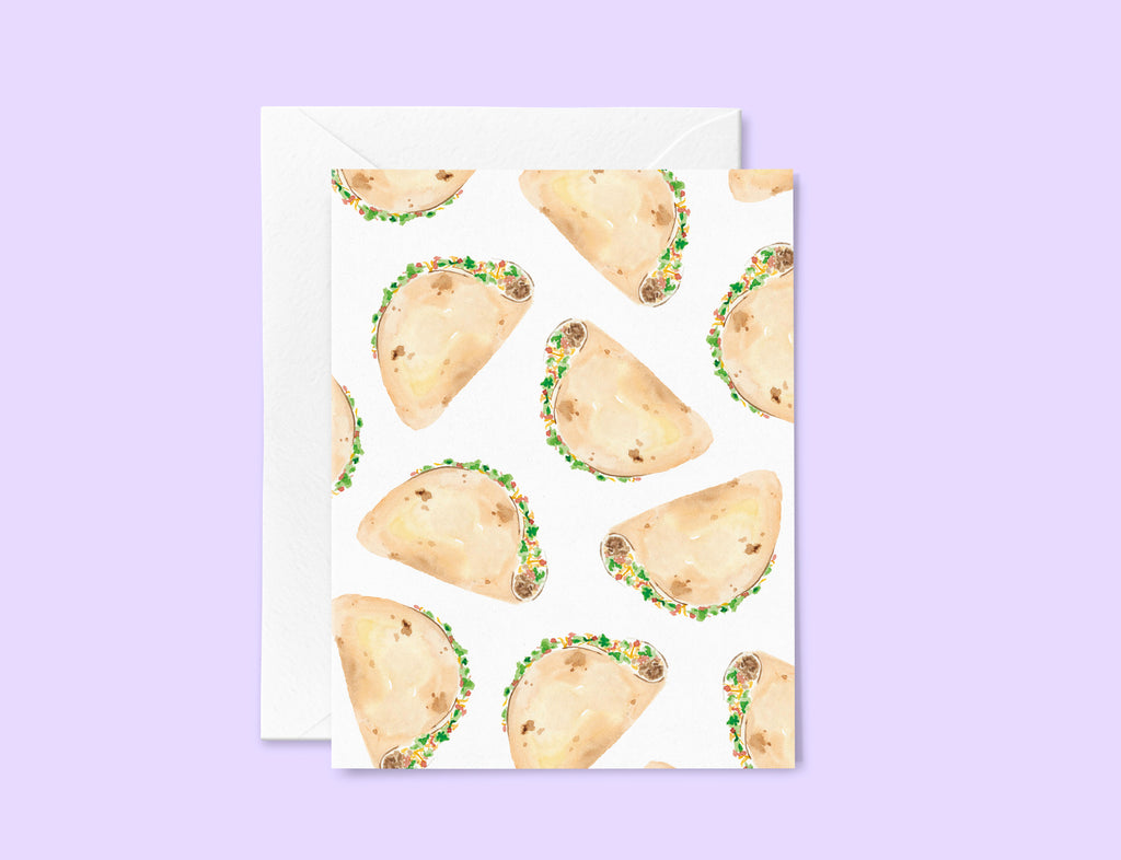 Taco Greeting Card Set, Tacos Stationery Set of 6, Taco Pattern Funny Notecards,  Taco Love Card, Taco Tuesday, Blank inside