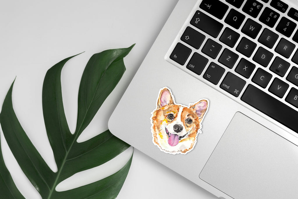 Corgi Sticker, Corgi Die Cut Vinyl Sticker, Pembroke Corgi Sticker, Watercolor Corgi Dog Sticker, Cute Corgi Sticker, Corgi Gift