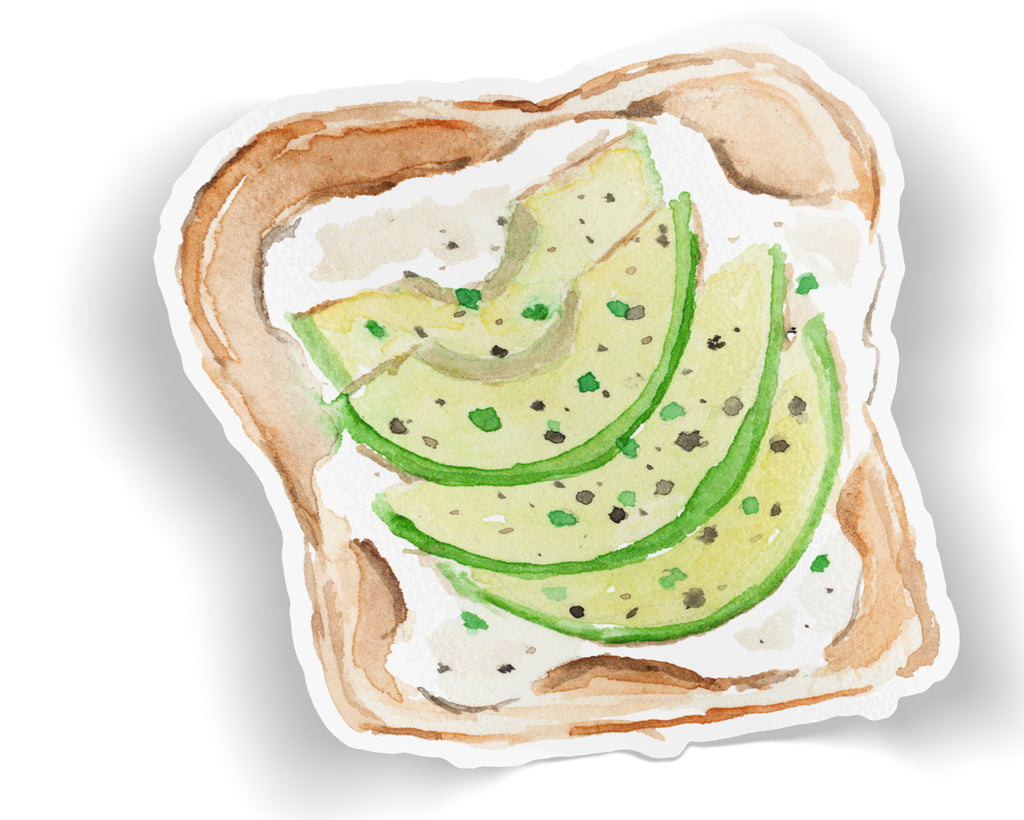 Avocado Toast Vinyl Sticker, Breakfast Sticker, Avocado Decal, Foodie Sticker, Brunch Sticker, Watercolor Laptop Sticker